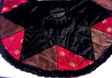 "NWT 54"" VILLA BACCI Tree Skirt-Black Velvet Star, Fur Trim, Red & Leopard Also"