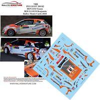 DECALS 1/43 REF 1589 PEUGEOT 208 R2 BONATO RALLYE MONTE CARLO 2018 RALLY WRC