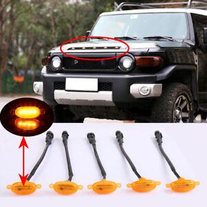 Raptor Style Amber Lens Front Upper Hood Mesh Grille LED Lights For FJ Cruiser