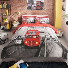 London Bus Grey/Red Duvet Covers Quilt Covers Reversible Bedding Sets All Sizes