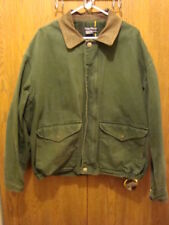 Nautica Green XL Lined Coat/Jacket Leather Collar Full Zip Very Nice