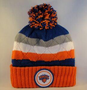 New York Knicks NBA Mitchell & Ness Cuffed Knit Pom Hat Blue Orange Gray White
