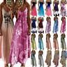 Women's Boho Summer Holiday Long Sling Dress Party Beach Strappy Maxi Sundress