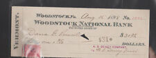 Woodstock National Bank Vermont Used Check 1898 Revenue Stamp