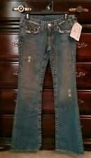TRUE RELIGION BRAND BLUE JEANS, WORLD TOUR,BRAND NEW w TAGS SIZE 27,BLUE DEMIN