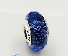 ** NEW Authentic PANDORA Iridescent Blue Faceted Murano Glass Charm 791646 SH*