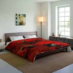 Red Glory Design Abstract Art Polyester Comforter Artistic Quilt Blanket in Red,