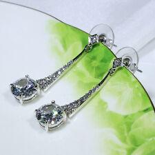 18K White Gold Filled Clear CZ Women Fashion Jewelry Stud Dangle Earring E4354