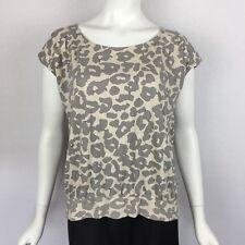 Ann Taylor Loft Womens Sz L Leopard Animal Print Gray Beige T Shirt Top Zipper