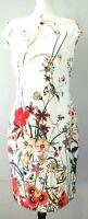 Zara white floral printed cap sleeve women dress  size  L