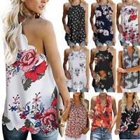 Women Summer Boho Vest Crop Top Floral Sleeveless Blouse Casual Tank Top T-Shirt