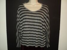 VINCE Size S Small Top Gray Stripes Oversized 3/4 Sleeves Wide Rounded Neckline