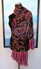 $475 Etro Italy Brown Silk Velvet Floral Embroidered Paisley Fringe Scarf
