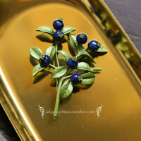 Broche Branche Arbre Feuille Vert Perle Lapis Lazuli Bleu Retro Class XZ6