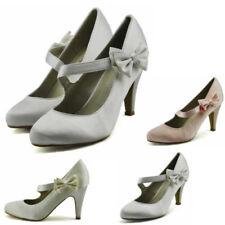 Satin Patternless Standard Width (B) Slim Heels for Women