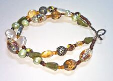 """Glass Beads Silver Catch 10 1/4"""" Artisan Anklet Baroque & Cultured Pearls Art"""