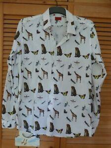 Wild animals print shirt, smart cotton collared shirt, African wildlife, giraffe
