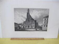 Vintage Print,ST.ETIENNCE DU MONT,Cristp Steel Engraving,Paris,19th Cent