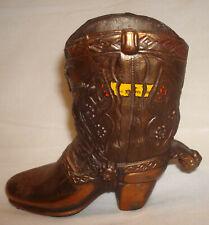 """Vintage Souvenir Western Cowboy Horse Cast Metal Copper Color 4 ¼"""" Boot w/Spur"""