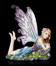 Elfen Figur - Kontania liegt auf Wiese - Fantasy Elfenmädchen Feen Deko Statue