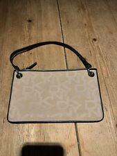Fabulous DONNA KARAN DKNY Cream & Brown Leather Monogrammed Small Shoulder BAG
