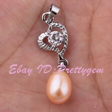 8x10mm Natural Oval Freshwater Pearl,CZ Crystal Beads,Heart Gold Plated Pendant