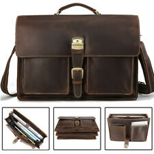 "Vintage Men Leather Briefcase 17"" Laptop Business Messenger Bag Handbag Satchel"
