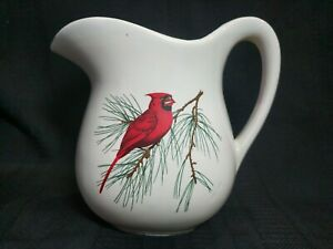 """Vintage McCoy Pitcher USA White with Cardinal on Evergreen Branch 7"""" Tall Water"""