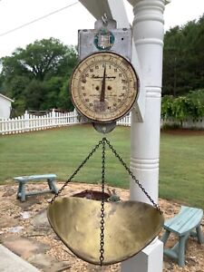 Vintage Hanging Scale Brass Scoop Newhouse Co Glendale CA, Farm Stand Store