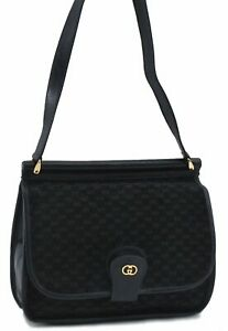 Authentic GUCCI Micro GG Suede Leather Shoulder Cross Body Bag Navy Blue C8348