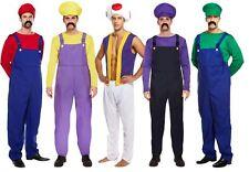 Mens Super Mario Bros Luigi Wario Waluigi Mushroom Workman Plumber Fancy Dress