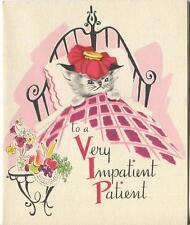 VINTAGE IMPATIENT PATIENT CAT THEROMETER BED FLOWERS FRUIT CHEER CARD ART PRINT