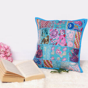 16x16 Cushion Cover Patchwork Pillow Case Indian Handmad Sofa Decor Embroidered