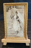 Antique,Hand Painted ,Miniature ,c.1910,Young Lady w Dog ,Watercolor