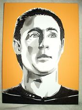 More details for canvas painting brent spiner as star trek data b&w art 16x12 inch acrylic
