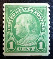 Beautiful 1923 1929 Rotary Press 10V MNH Franklin 1c Stamp Scott# 597 J219