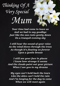 Thinking Of A Special Mum Memorial Graveside Poem Card & Free Ground Stake F365