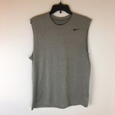 Nike Dri Fit Athletic Shirt Mens Large Sleeveless 100% Polyester Gray