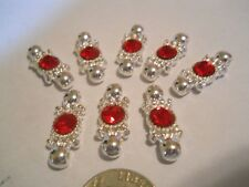 10 SILVER PLATED GRADE A RED RHINESTONES RECTANGLE 2 HOLE SLIDER SPACER BEAD BAR
