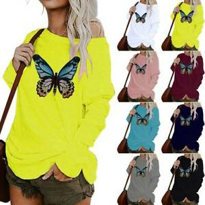 Women Ladies Butterfly Floral Long Sleeve Tops Blouse Casual Basic Tee Plus Size