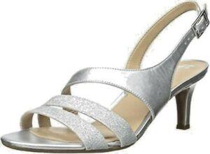 👠New NATURALIZER Taimi Sz 8W Silver Sparkle Kitten heel Slingback Shoes RRP$160