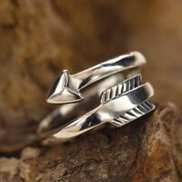 Arrow Boho Wrap Adjustable Stackable Ring - Sterling Silver .925 or Gold Bronze