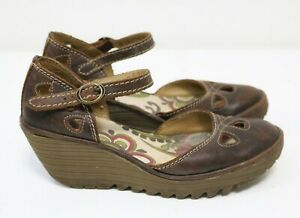 Fly London Wedges Sandals Yuna Brown Leather Ankle Shoes UK 7