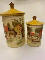 Vintage Ceramic Sears & Roebuck Country Farm Canisters–Set of 2