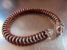 $770 Scott Kay Sterling Silver Hammered/Leather Woven Bracelet/Unkaged