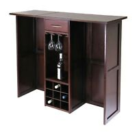 Dark Walnut Finish Wood Expandable Wine Bar Liquor Cabinet Bottle Storage Rack