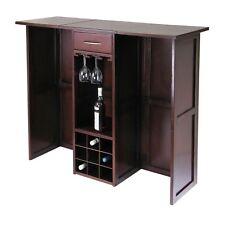 Dark Walnut Finish Wood Expandable Wine Bar Liquor Cabinet Bottle Storage Rack