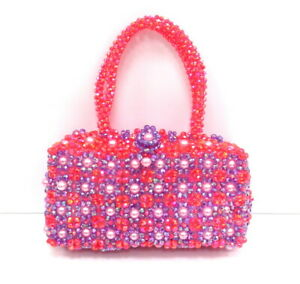 Orange & Purple Multi Color Bead & Faux Pearl Hand Bag