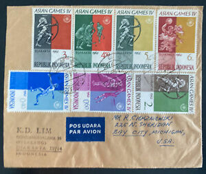 1962 Djakarta Indonesia First day Cover FDC To Bay City MI Usa Asian Games IV