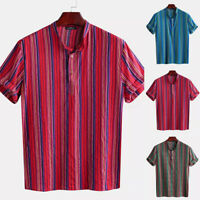 INCERUN Mens Short Sleeve Vintage Striped Shirt Grandad Neck V Neck Tops Tee UK